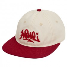 Animal 6 Panel Unstructured Adjustable Hat - Cream / Red